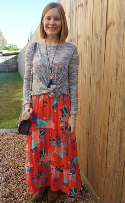 grey marl knit jumper knotted over tropical floral print tiered maxi dress ankle boots winter | away from blue