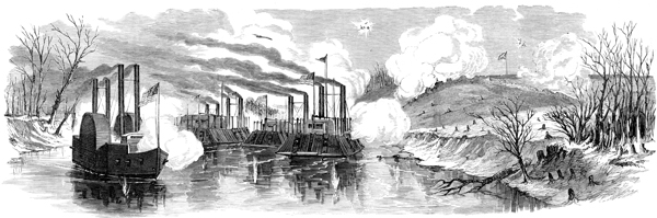 pencil drawing of ironclad ships attacking Fort Donelson