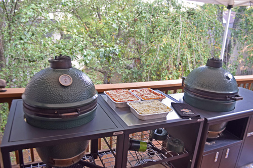 Big Green Eggs in a BGE Modular Nest and a Challenger Designs Torch 48