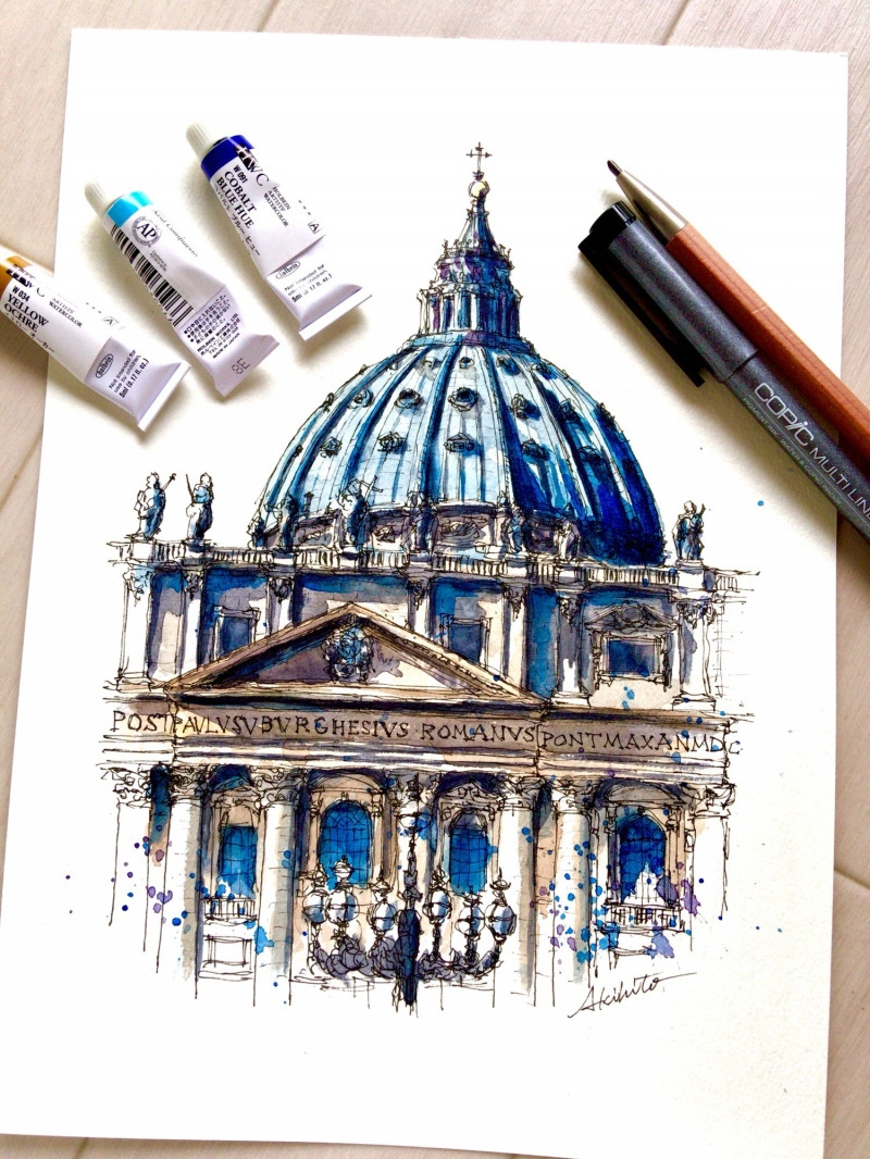 10-St-Peter-s-Basilica-Vatican-City-Akihito-Horigome-Travelling-Drawing-and-Painting-www-designstack-co