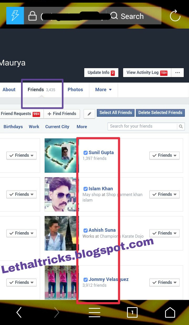 HOW TO UNFRIEND ALL VIA UC BROWSER (Android) ~ ͜͡