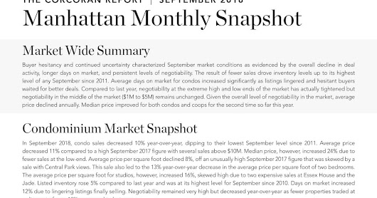 Manhattan Market Report | September 2018