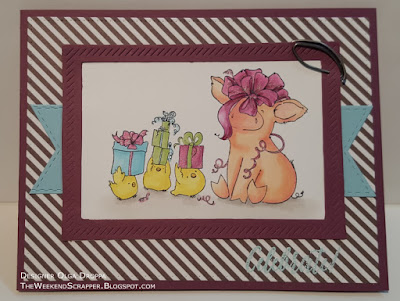 Handmade celebrate birthday card using Stampingbella Petunia Thinks She's a Prezzie MFT Stax and Papertray Ink Hooray