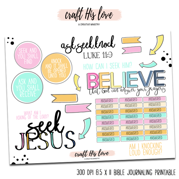 Ask Seek Knock Bible Journaling Free Printable
