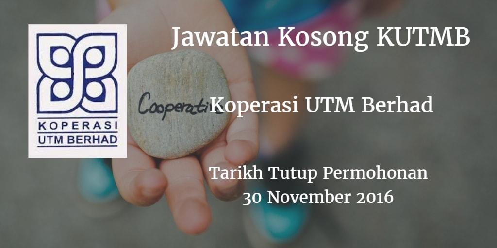 Jawatan Kosong KUTMB 30 November 2016