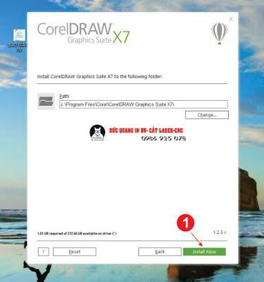 Các bước trong quy trình cài đặt phần mềm Corel X7