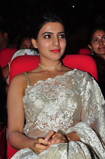 Actress Samantha Stills in Designer Saree at Surya 24 Movie Audio Launch  0048.JPG