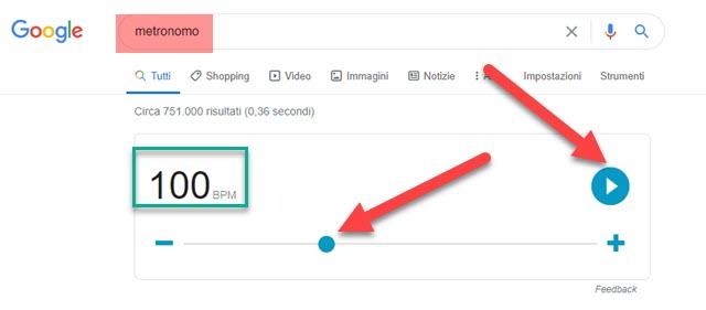 metronomo online di google