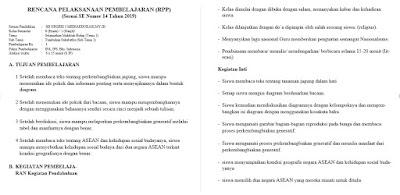 RPP 1 LEMBAR TERBARU 2021 UNTUK KELAS 6 SD/MI
