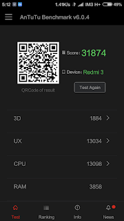 Xiaomi Redmi 3 - Skor Antutu Benchmark