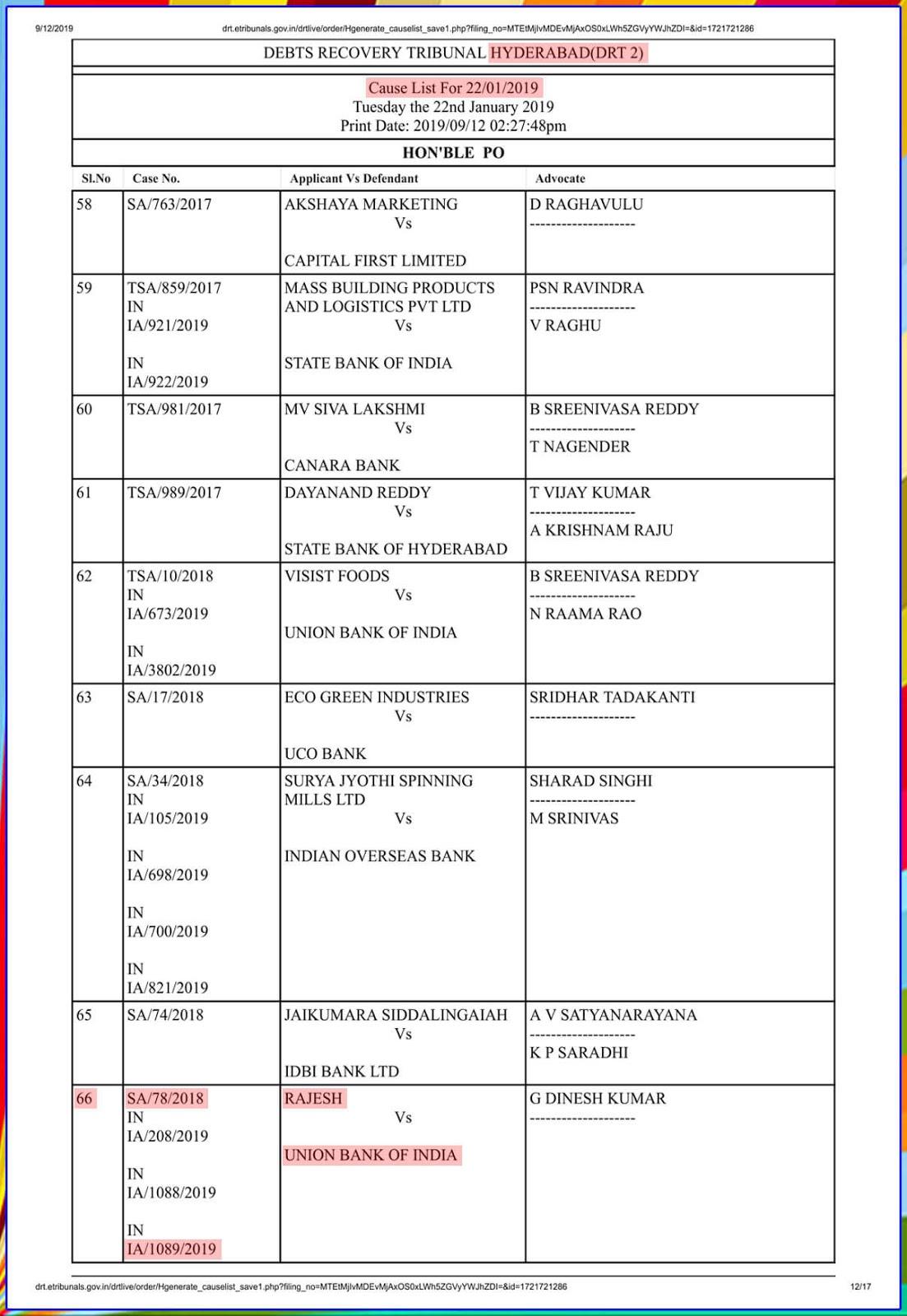 Debit recovery Tribunal-2 Hyderabad-I.A.No.1089/2019-11