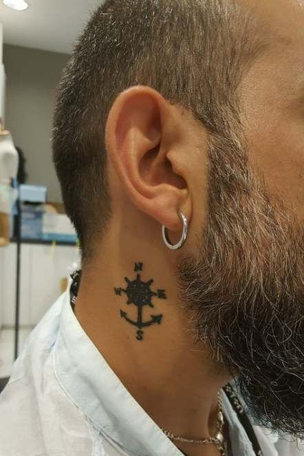 Anchor + Compass Mix Tattoo on Neck