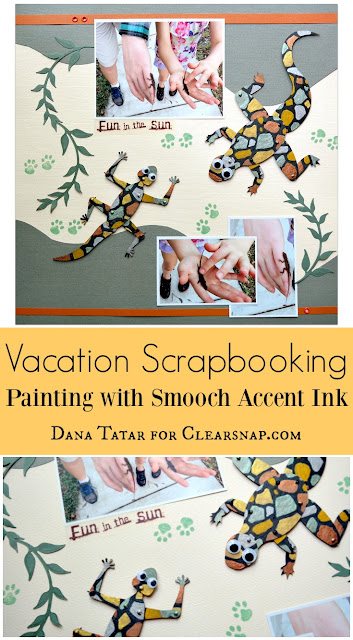 Vacation Scrapbooking Embellishments with Smooch Accent Ink by Dana Tatar for Clearsnap