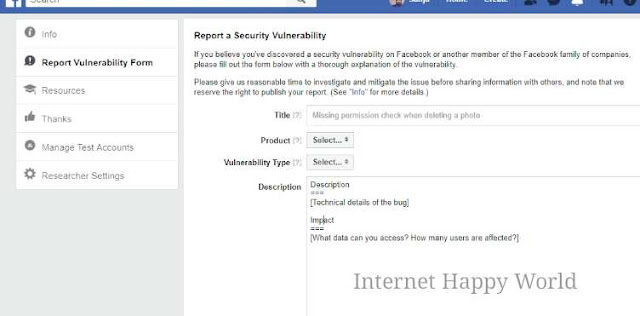 facebook whitehat report submit