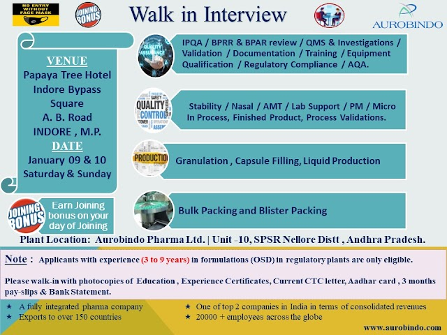 Aurobindo Pharma | Walk-in at Indore on 9&10th Jan 2021 for Production/Packing/QC/QA