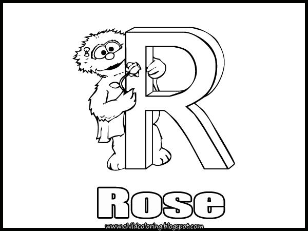 Sesame Street Alphabet Coloring Letter P, Q, R ~ Child
