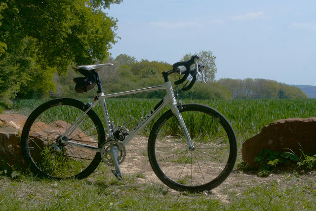 bike leaning against a rock at the side of a field