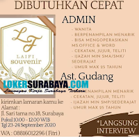 Walk In Interview di Laifi Souvenir Surabaya September 2020
