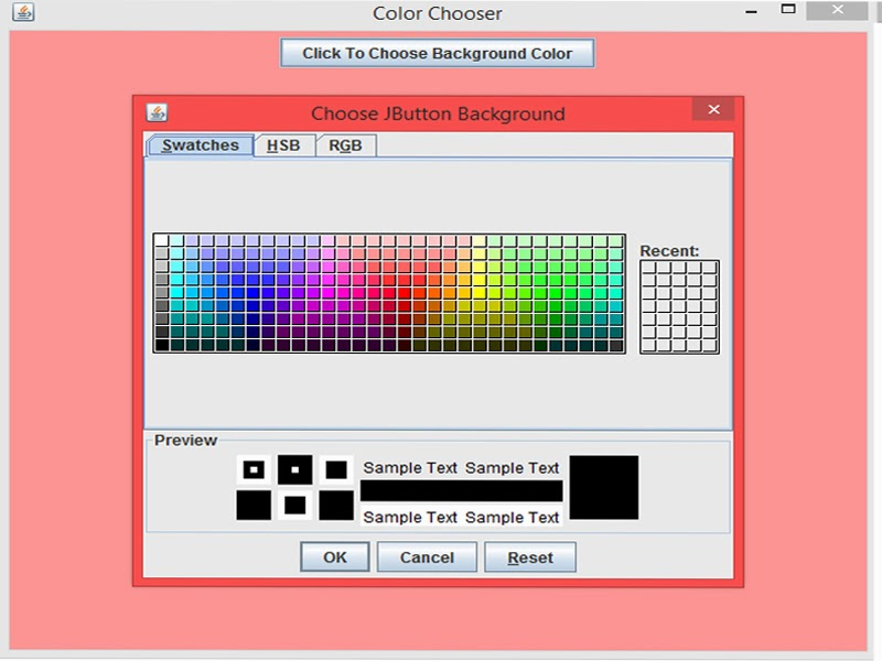 Projavatricks How To Change Background Color Using Jcolor Chooser In Java