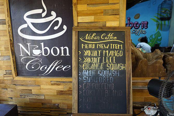 Daftar menu di Nobon Coffee Rembang