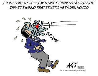Berlusconi, cessi mediaset, linguaggio istituzionale, m5s, Politica, vignetta, satira