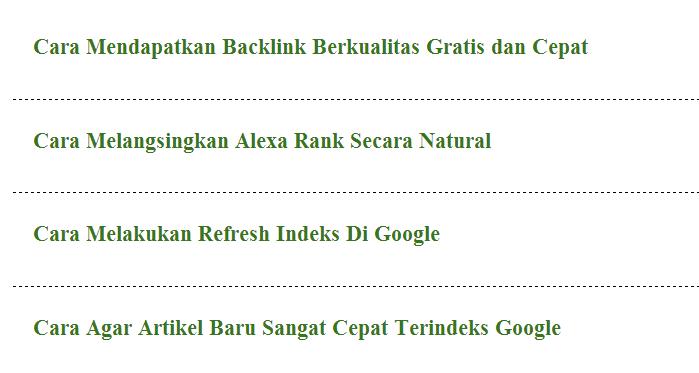 Cara Menampilkan Hanya Judul Posting Saja Di Homepage
