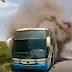 Oliveira dos Brejinhos/BA: Ônibus da empresa Novo Horizonte pega fogo na BR-242, passageiros saem às pressas