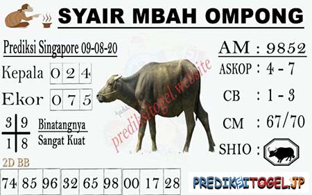 Syair Mbah Ompong SGP Minggu 09 Agustus 2020