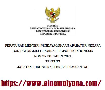 Peraturan Menpan RB Permenpan RB Nomor 38 Tahun 2021 Tentang Jabatan Fungsional Penilai Pemerintah