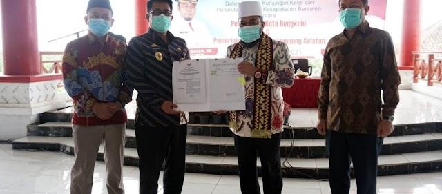 Teken MoU, Pemkot Bengkulu Jalin Kerja Sama dengan Pemkab Lampung Selatan
