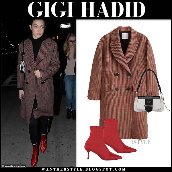 Gigi Hadid in brown mango check coat and red senso boots model winter style december 30