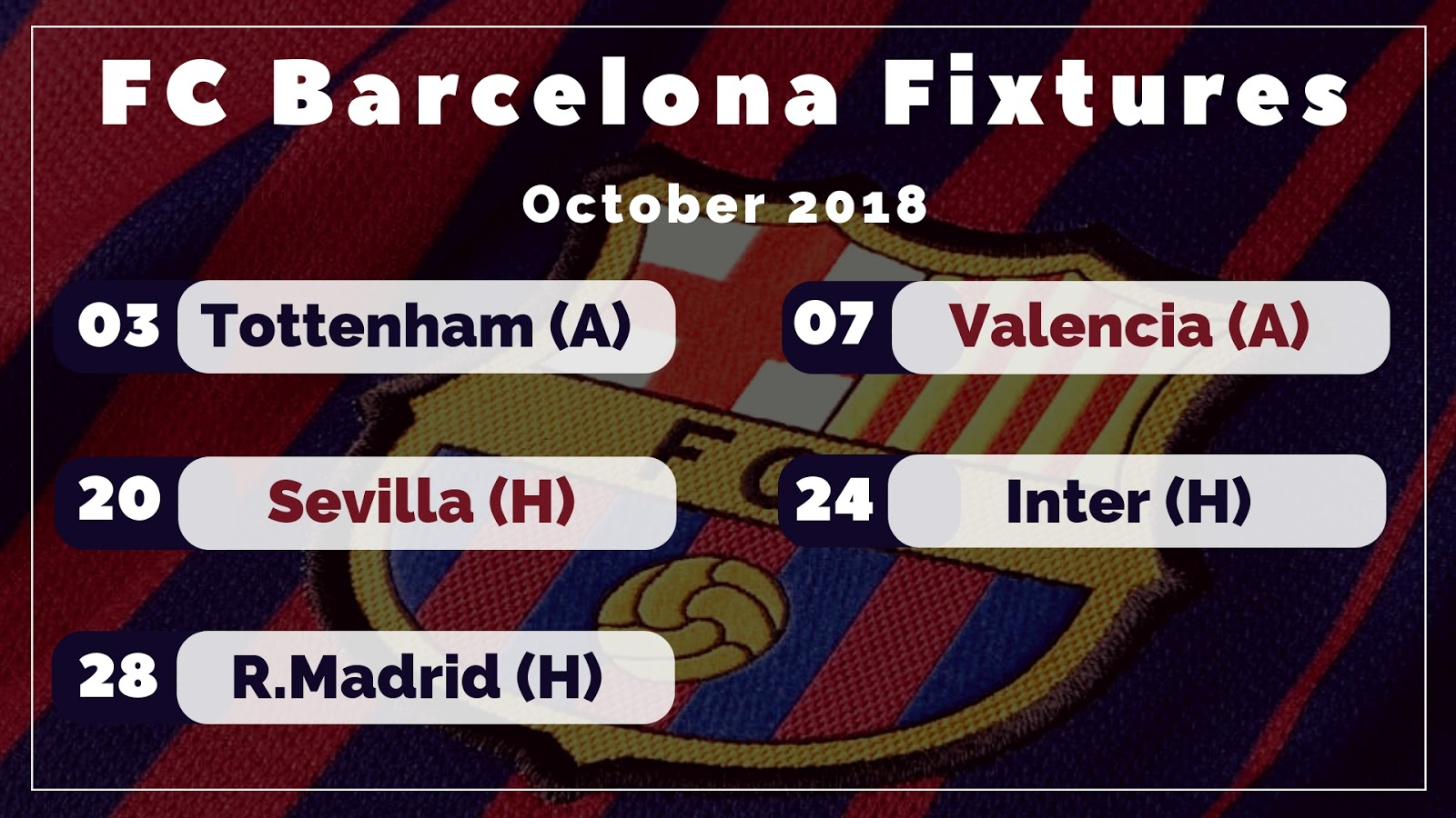 FC Barcelona Fixtures : By Barca's September Form, October Looks Really Scary #barca #fcbarcelona #barcamatches #fcbarcelonafixtures