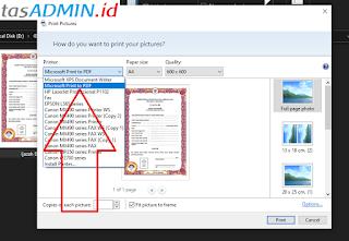 Pilih Printer Microsoft Print to PDF