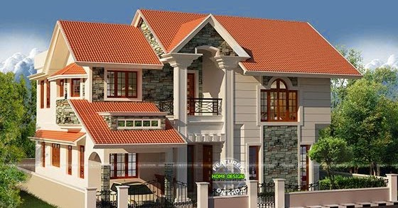 Western style spacious 3 bhk house kerala home design for Western style houses