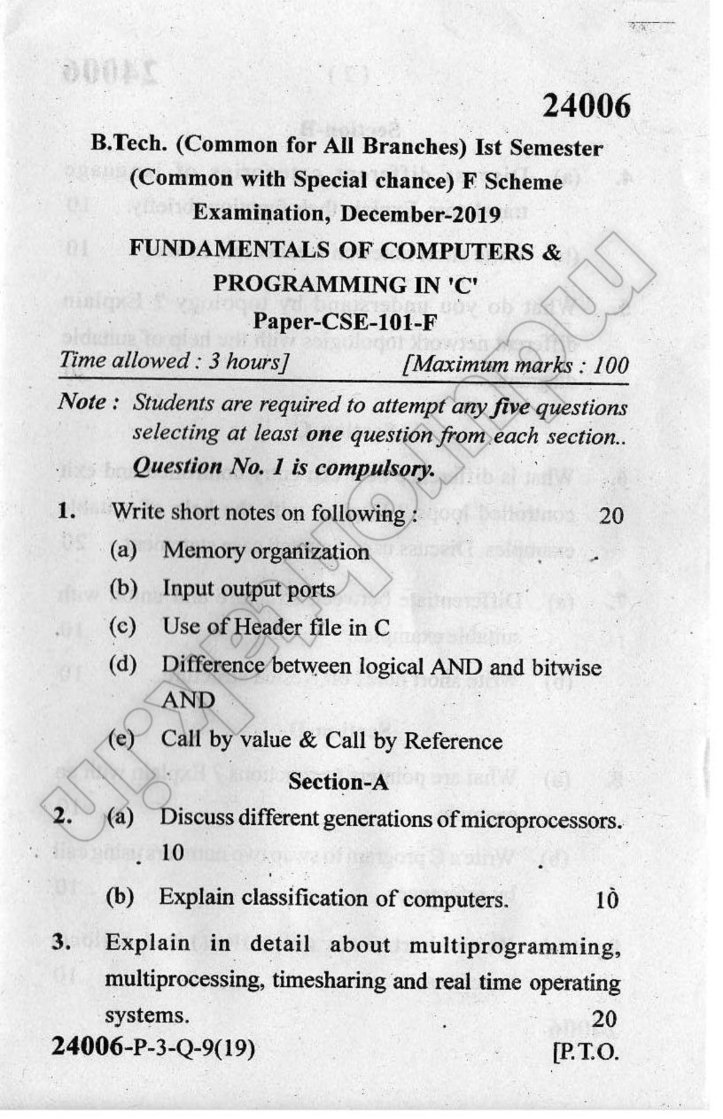 Download Fundamentals of Computer and Programming in C - Question Paper - B.Tech. 1st Year - December 2019 for free