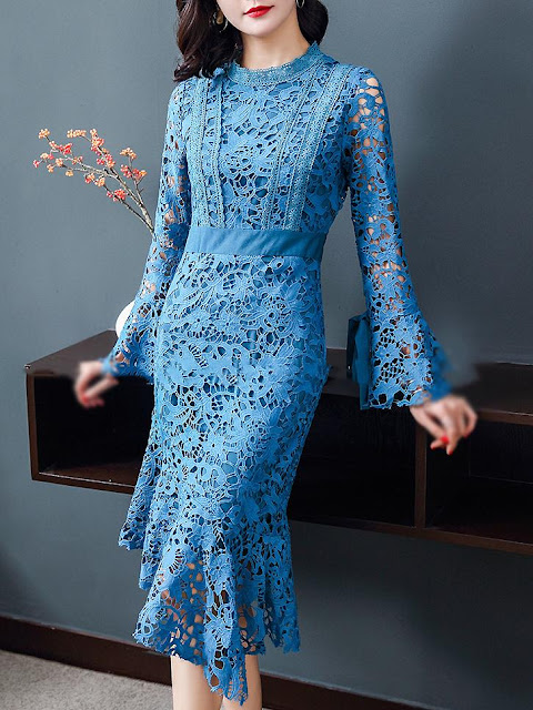blue bodycon lace dress for summer