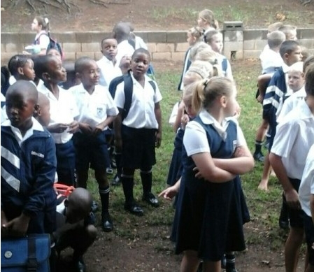 white kids separated from blacks south africa school