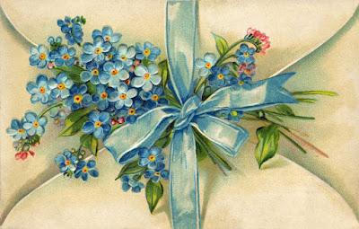 vintage copyright-free forget-me-not postcard