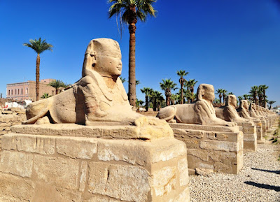 The Avenue of the Sphinxes which connects the temples of Karnak and Luxor.