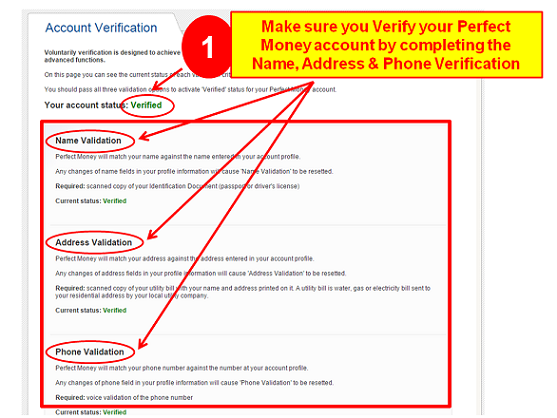 upload documents for perfect money account verification