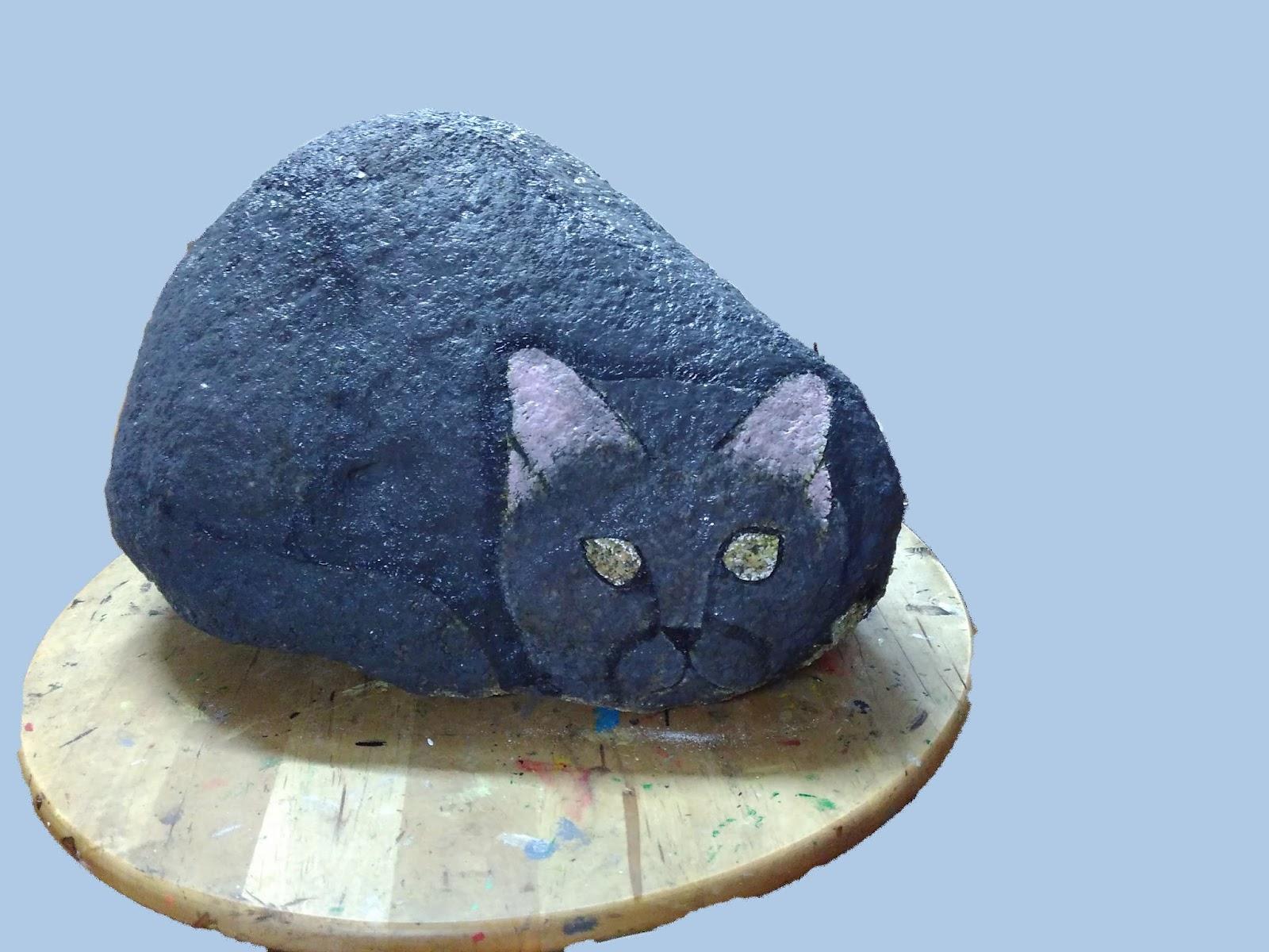 Piedras pintadas a mano como pintar un gato en piedra for Como pintar piedras