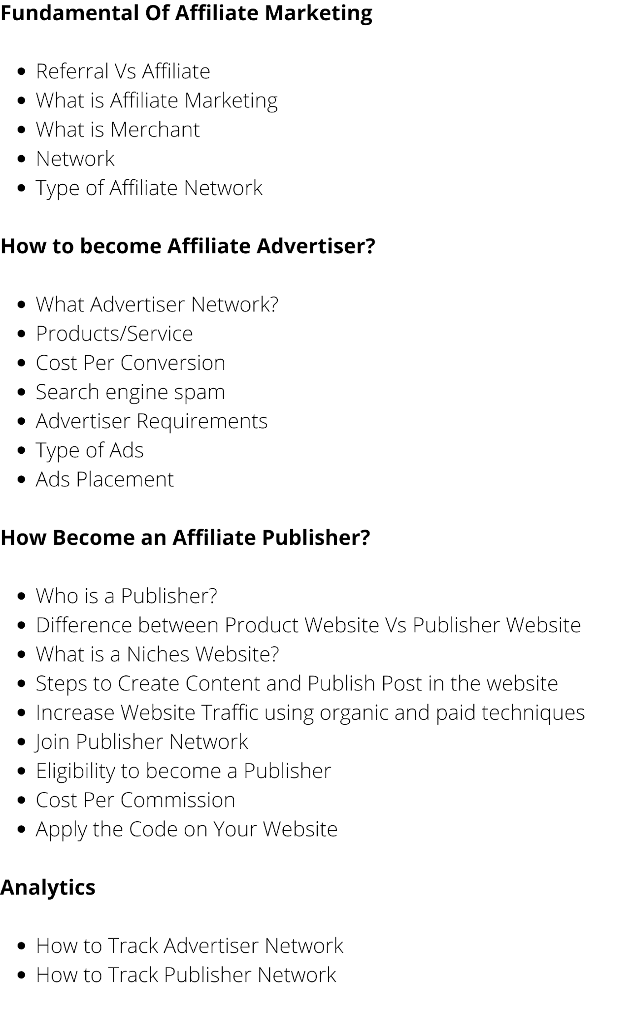 Affiliate Marketing Course Syllabus