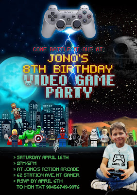 Personalized Video Game Party Invitation