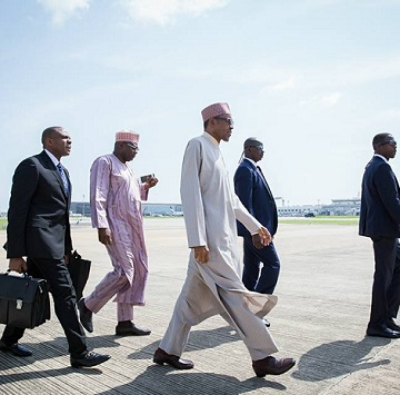 Ear Infection: President Buhari Jets Out To London, See Photos