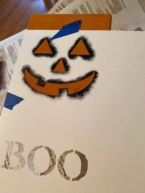 Photo of a jack-o-lantern face stencil