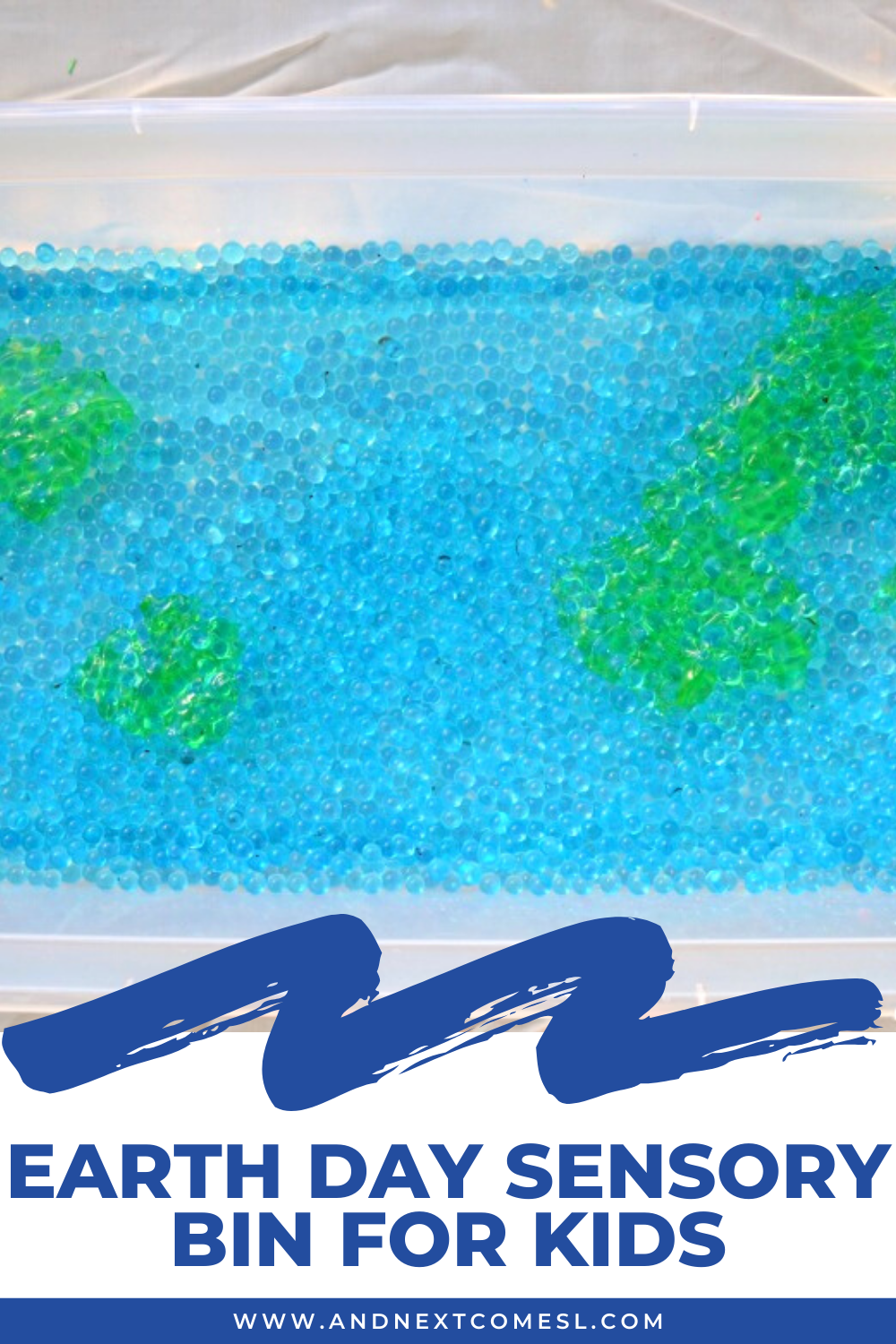 A simple Earth Day sensory bin for toddlers and preschoolers