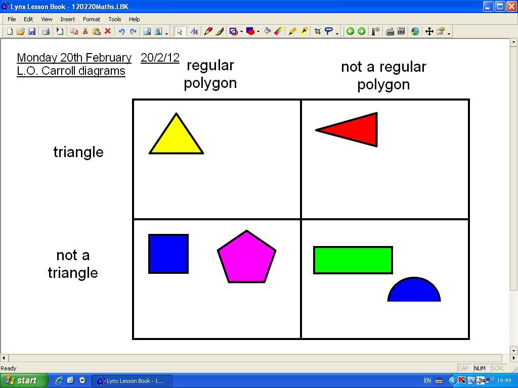 Mr Howe S Class Maths Carroll Diagrams