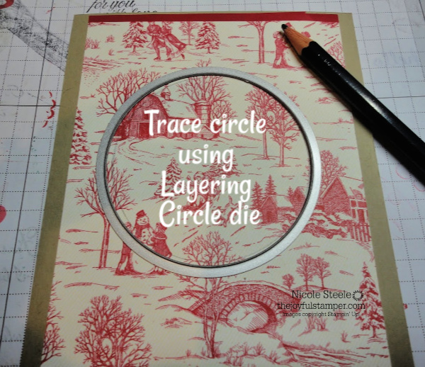 How to make a wreath on your card: Trace Stampin' Up! Layering Circle die on to paper | photo tutorial by Nicole Steele The Joyful Stamper