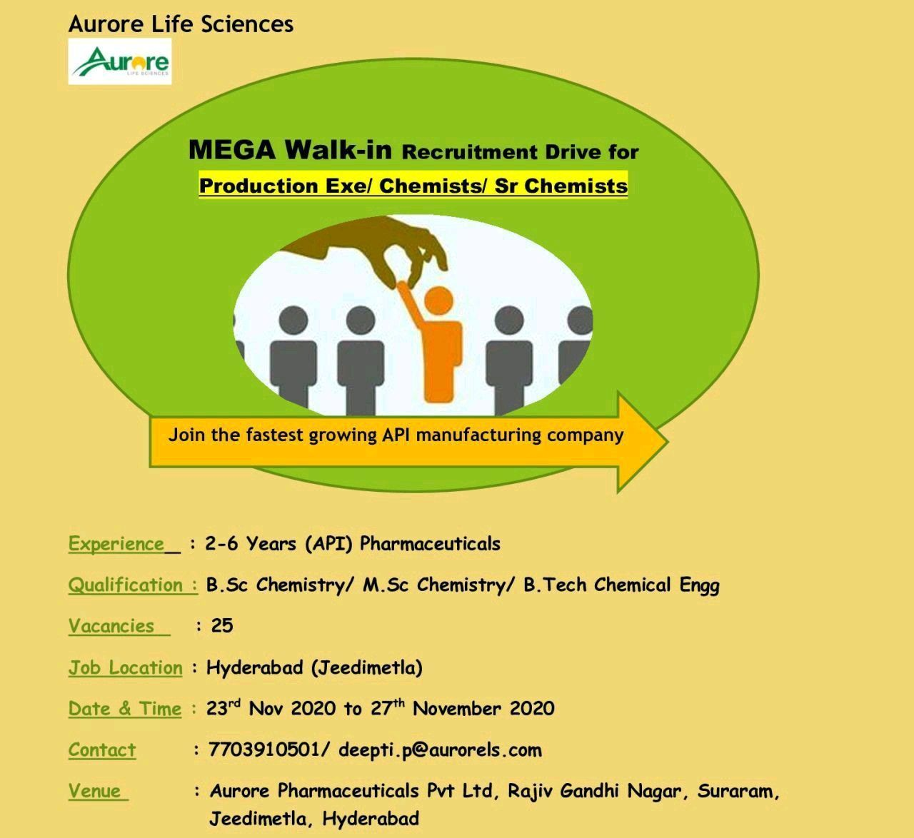 Aurore Pharmaceuticals Pvt Ltd  MEGA Walk-in Recruitment Drive for  Production Exe/ Chemists/ Sr Chemists