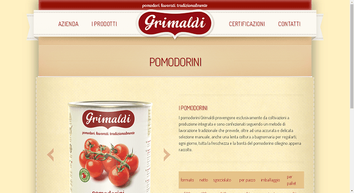 Picture to Italian food exporter company named Cav Uff Pietro grimaldi Srl